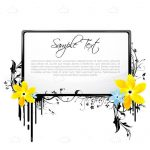 Sample Text with Black Border and Colourful Floral Decoration